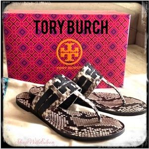 Tory Burch Leigh 05MM Snake Print Leather Sandals